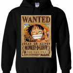Luffy Wanted Poster Hoodie Black