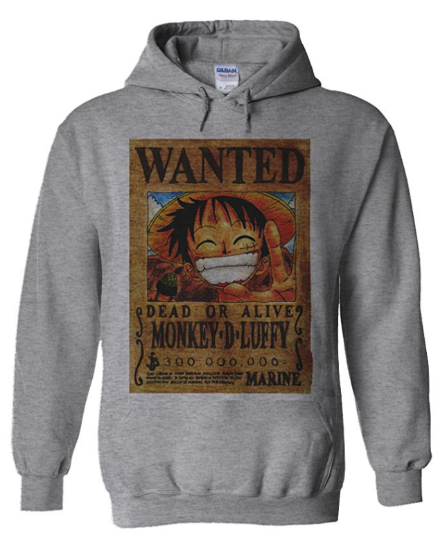 Luffy Wanted Poster Hoodie Grey