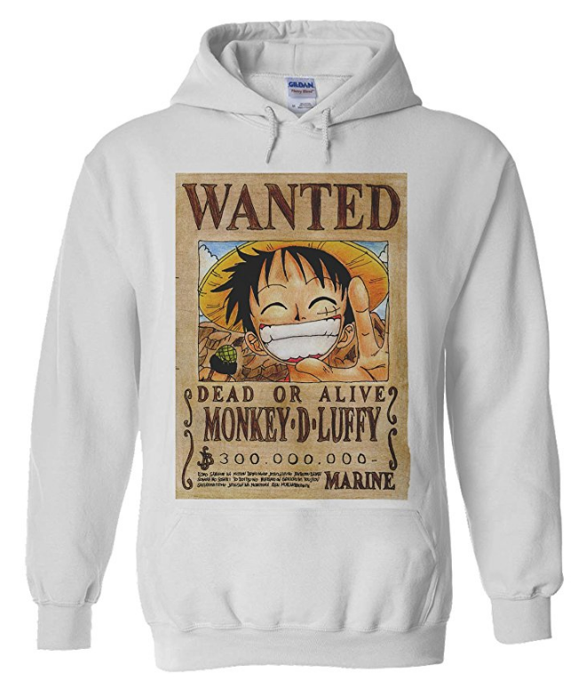 Luffy Wanted Poster Hoodie White