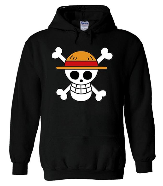 Straw Hat Hoodie Black
