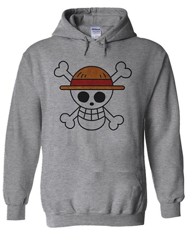 Straw Hat Hoodie Grey